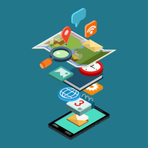 48577474 - flat style 3d isometric vector illustration concept smart phone app icons. concept for mobile applications, development, downloading, installing, usage. map, chat, calendar, email, diary, photo album.