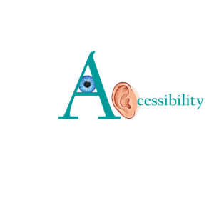 A large letter A with an eyeball in the middle and an ear to the right acting as a C in the word accessibility