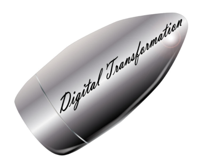 A silver-colored bullet with inscription Digital Transformation