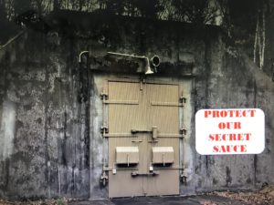 Picture of a bunker with a sign with message