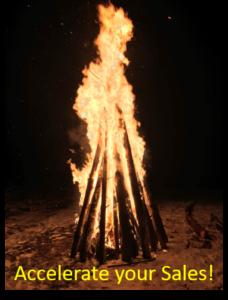 Bonfire burning in the darkness of night