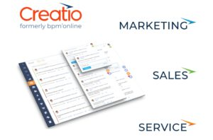 Creatio logo with pic of layered informatgion and words Marketing, Sales and Service