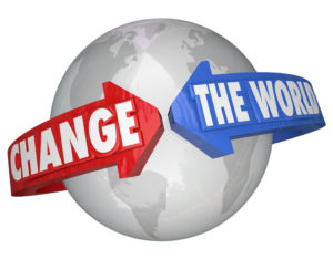 Change the World arrows around Earth solving problems helping or assistance in fixing trouble across the planet