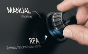 Hand turning a knob over dark grey background and selecting RPA (Robotic Process Automation) mode. Artificial Intelligence concept. Composite image between a hand photography and a 3D background.