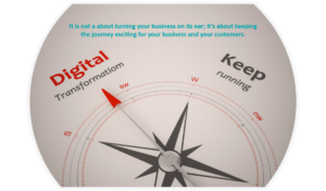 Picture of compass showing more from just keep your business running to digital transformation