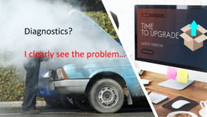 """Image of broken down car on left with steam engulfing a amn with the words """"Diagnostics? I clearly see the problem."""" On right a Desktop screen with message """"Time for Upgrade"""""""