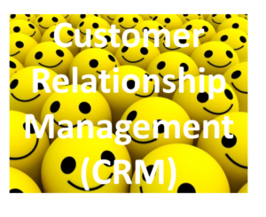 """Picture of smiley faces with words """"Customer Relationship Management (CRM)"""""""
