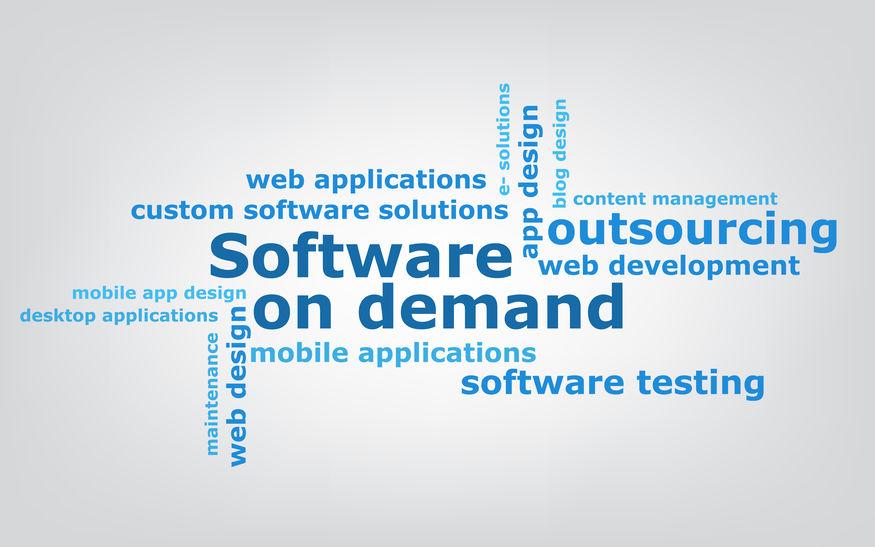 keyword  Software on demand wordcloud, vector