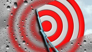Target with wiper clearing away rain drops