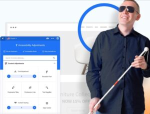 Picture of a blind man next to image of settings to adjust web content to make it easy to read and use screen readers