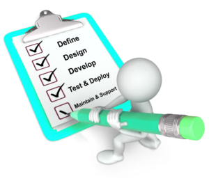 Person figurine checking off boxes for Define, Design, Develop, Text and Deploy and Maintain and Support