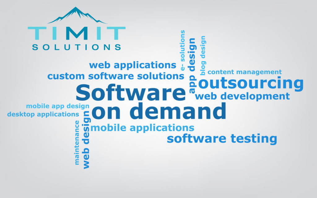 TIMIT Solutions logo followed by terms that describe software solutions, including mobile app, web applications, and outsourcing.