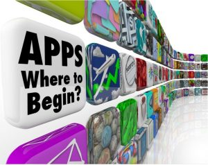 """Picture showing """"Apps Where to Begin? with wall of different types of off-the-shelf app"""